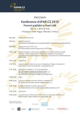 Konference ASPAR CZ 2015 Firemní pojištění a řízení rizik