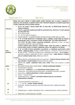 Měsíční plán: V.A Říjen 2015