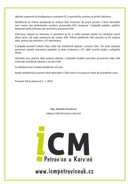 Provozní řád ICM 2 - ICM Petrovice u Karviné