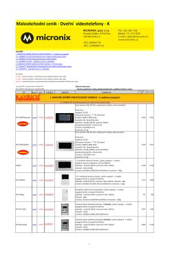Maloobchodní ceník - Dveřní videotelefony - K