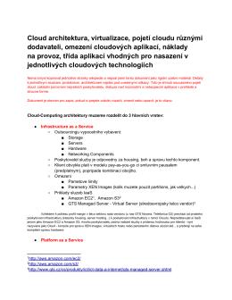 Cloud architektura, virtualizace, pojetí cloudu různými dodavateli