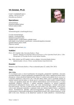 Úplný osobní profil včetně publikační činnosti