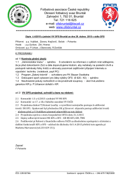 Zpráva VV OFS Bruntál ze dne 29. 4. 2015