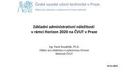Pracovní setkání HORIZON 2020 - Odbor VaV