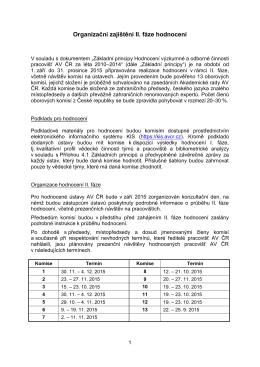 Organizační zajištění II. fáze hodnocení