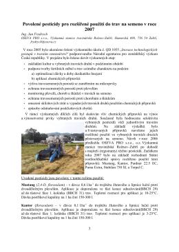 Povolené pesticidy pro rozšířené použití do trav na semeno v r