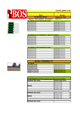 Ceník pletiv a drátů PLETIVO PVC NOVĚ V - IBOS