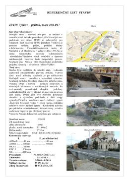 Referenční list stavby - II/430 Vyškov – průtah, most 430-017