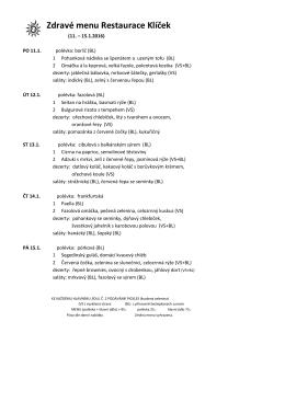 Zdravé menu Restaurace Klíček