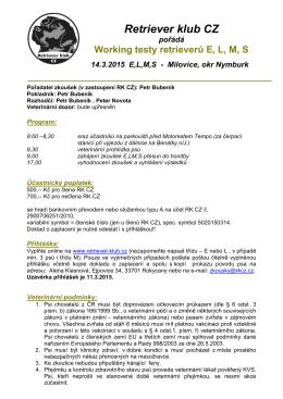 Propozice WT Milovice 14.3.2015