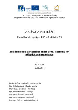 ZŠ Pastviny - Technické školky
