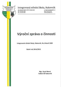 Výroční zpráva ISŠ Rakovník za rok 2014/2015