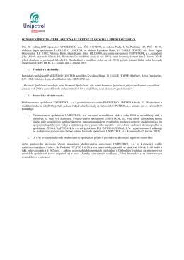 29. Oznámení protinávrhu akcionáře včetně stanoviska