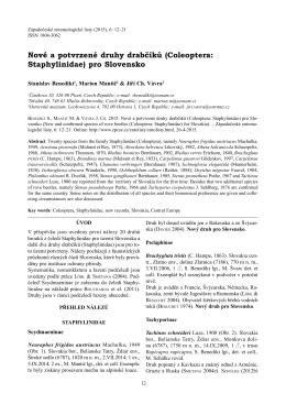 Nové a potvrzené druhy drabčíků (Coleoptera: Staphylinidae