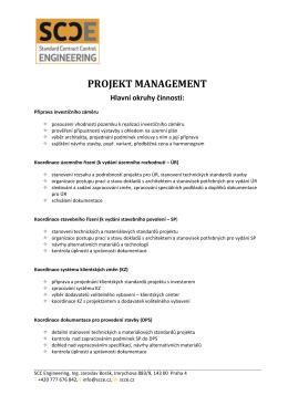 PROJEKT MANAGEMENT Hlavní okruhy činností