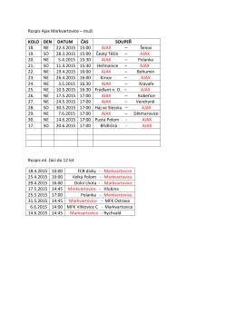 rozpis kopané pro jarní sezonu 2015