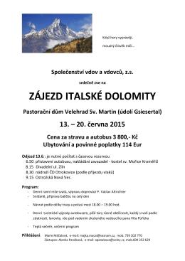 ZÁJEZD ITALSKÉ DOLOMITY