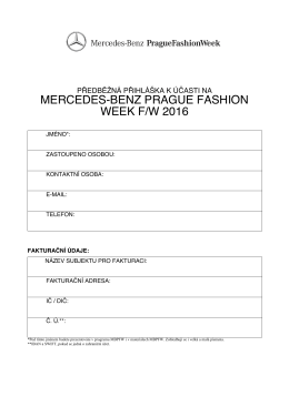 přihláška - Mercedes-Benz Prague Fashion Week