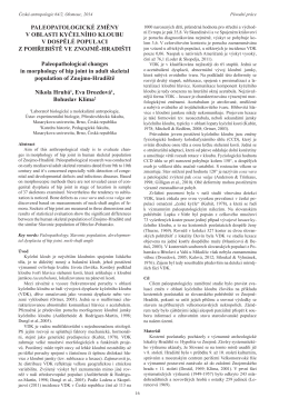 Paleopatologické změny v oblasti kyčelního kloubu v dospělé