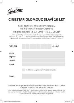 CINESTAR OLOMOUC SLAVÍ 10 LET