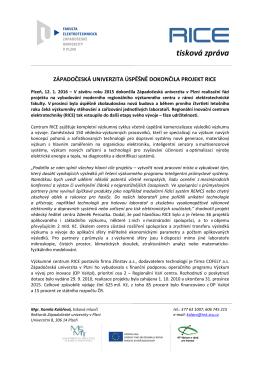 Západočeská univerzita úspěšně dokončila projekt RICE