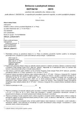 Smlouva o poskytnutí dotace z Programu Čistá energie Praha 2015