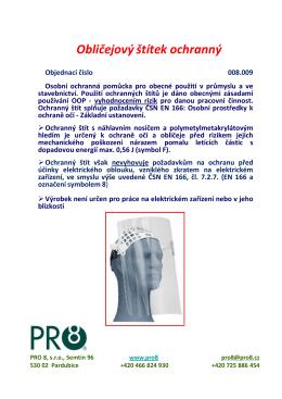 dokument pro8 Obličejový štítek ochranný 008 009