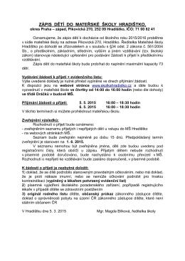 informace a kritéria ZDE