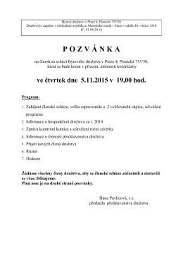 Pozvánka čl. schůze 5.11.2015 - Bytové družstvo v Praze 4, Písnická