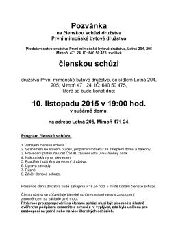 10.11.2015 Pozvánka na členskou schůzi