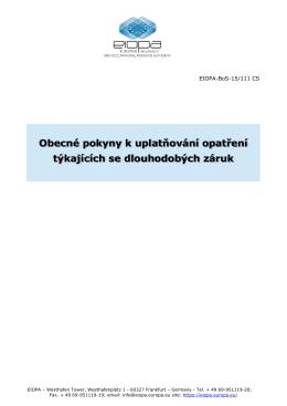 Obecné pokyny k uplatňování opatření týkajících se - eiopa