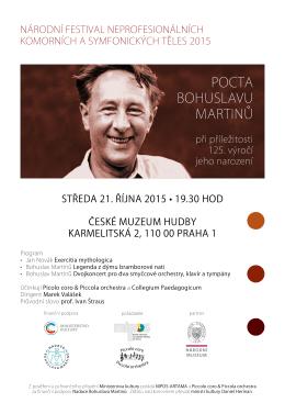 POCTA BOHUSLAVU MARTINŮ - Piccolo coro & Piccola orchestra