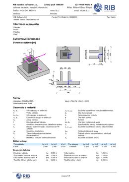 základ s kalichem, protokol statického výpočtu a návrhů