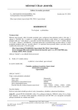 Veřejná vyhláška MěÚ Jeseník č.j. MJ/52640/2015/2016/04/OŽP/R