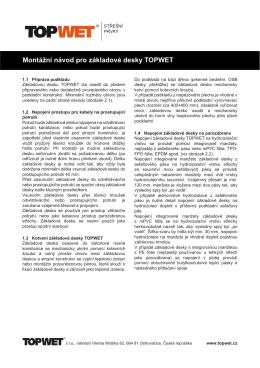 Montážní návod pro základové desky TOPWET