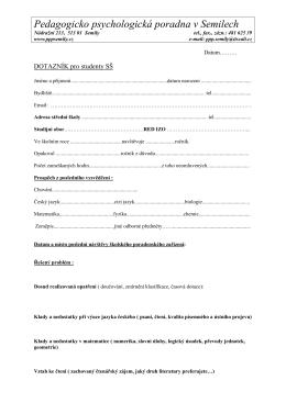 dotazník pro studenty - Pedagogicko psychologická poradna Semily