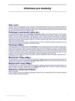 Informace pro studenty - Institut politologických studií FSV UK