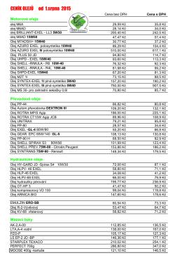 Ceník olejů k 1.8.2015