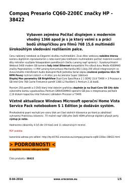 Compaq Presario CQ60-220EC značky HP - 38422