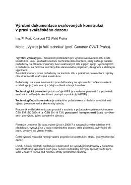 Výrobní dokumentace svařovaných konstrukcí v