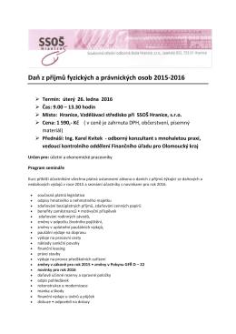 Daň z příjmů fyzických a právnických osob 2015-2016