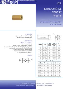 20. V-série jednosměrné ventily