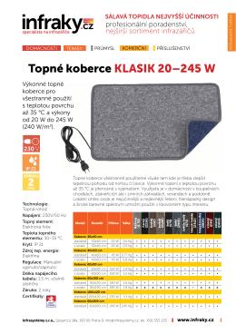 Technický list topné koberce a koberečky