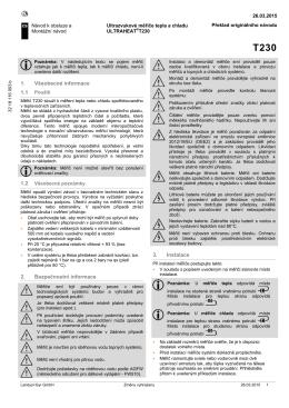 1. Všeobecné informace 2. Bezpečnostní informace 3. Instalace
