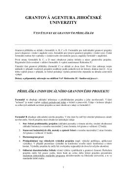grantová agentura jihočeské univerzity vysvětlivky ke grantovým