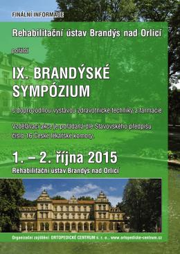 IX. BRANDÝSKÉ SYMPÓZIUM 1. – 2. října 2015