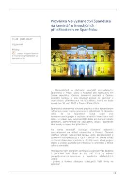 Pozvánka Velvyslanectví Španělska na seminář o investičních