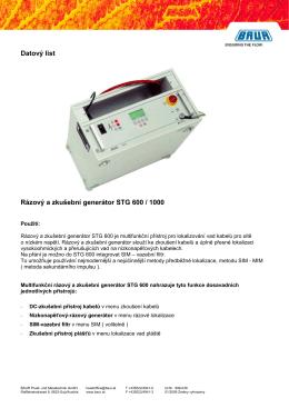 Datový list Rázový a zkušební generátor STG 600 / 1000