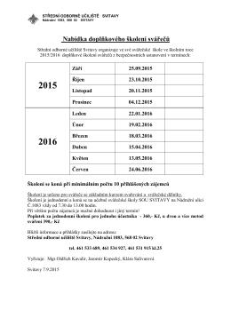 Kalendář doškolovacích kurzů