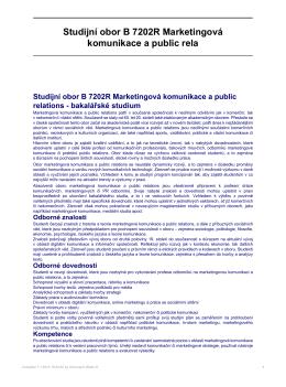 Studijní obor B 7202R Marketingová komunikace a public rela